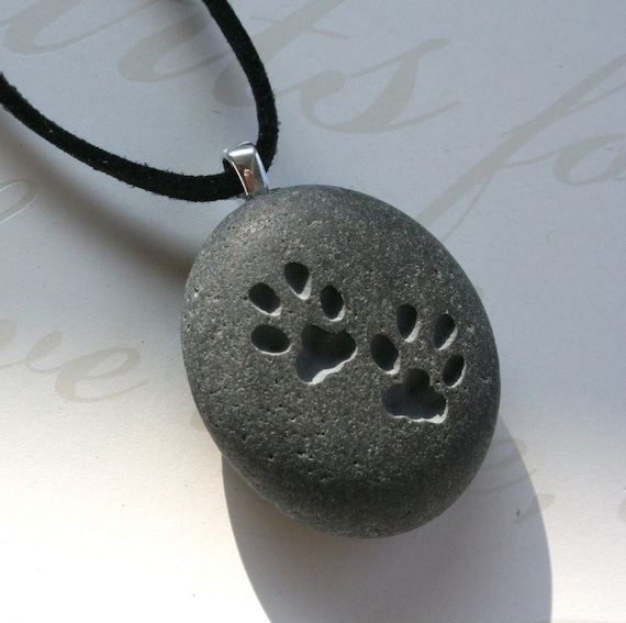 Pet lovers gift - CAT paw prints pendant with cord for kitty lover - Tiny PebbleGlyph (C) necklace
