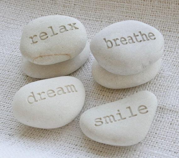 Customized engraved gift stones - custom engraving on white stones by sjEngraving