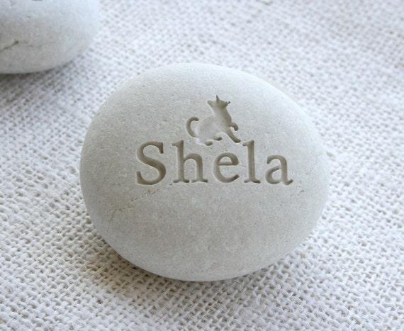 Pet memorial stone - custom engraving pet loss gift - Desktop companion stone