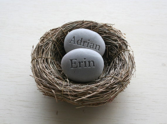 Mothers gift from daughter - set of 2 personalized engraved name stone eggs in nest by sjEngraving