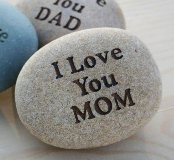 Love YOU - custom engraved stone with you personalized message - home decor - decoration and paperweight stone