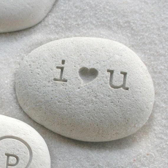 i heart u beach pebble - I love you gift stone - Petite love stone (TM) by sjEngraving