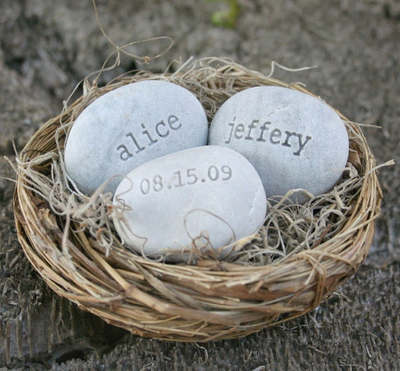 Personalized wedding gift -  engraved stones with names and date in love nest by sjEngraving