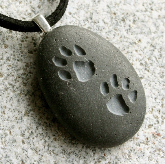 Dog lovers necklace - Puppy Pawprints on front side name on back side - Double Sided Engraved stone - wearable memorial