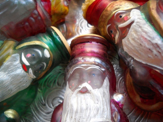 Vintage Christmas Light Covers - Saint Nicholas - Santa Claus - Old Man Winter - Set of Seven