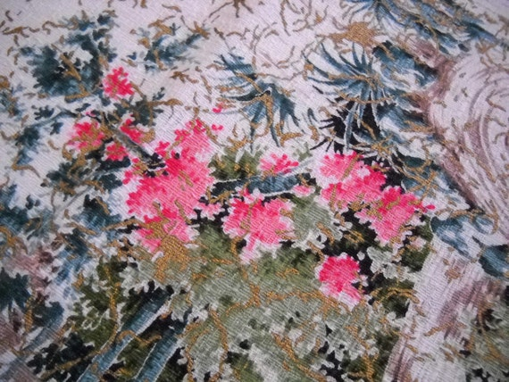Vintage Barkcloth Remnant - Pink and Teal Wooded -Metallic Gold Accents