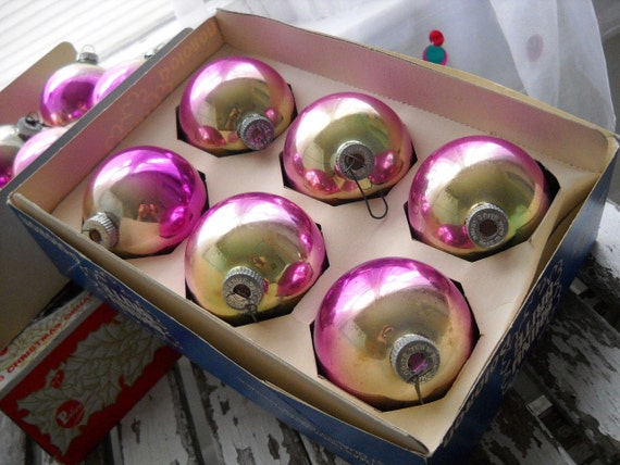 Vintage Christmas Ornaments - Shiny Brite Valentine Pink Silver Gold Fade - Two Boxes