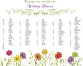 Spring Flowers Seating Chart For Your Wedding Reception, Bridal Shower - Digital File