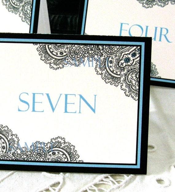 Wedding Reception Table Number Cards