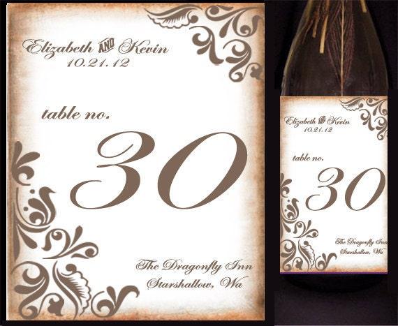 Vintage Floral Motif Wine Bottle Labels or Cardstock Table Numbers - Antique, grunge Style - Wedding Reception, Table Signs