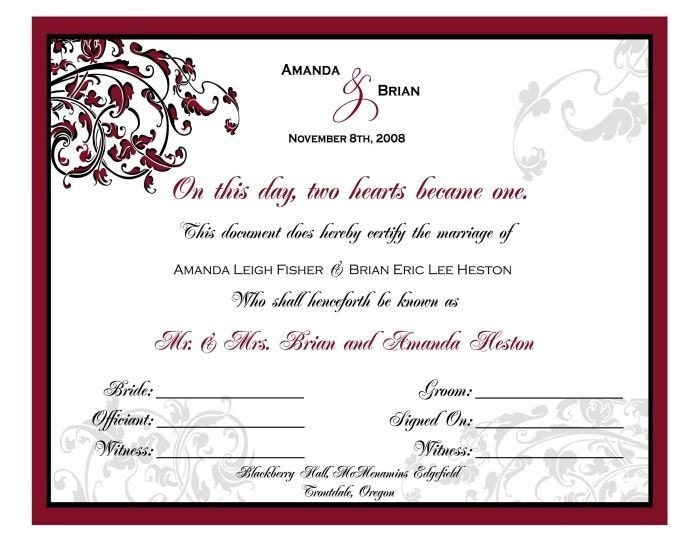 Free Printable Marriage Certificate Templates  Editable