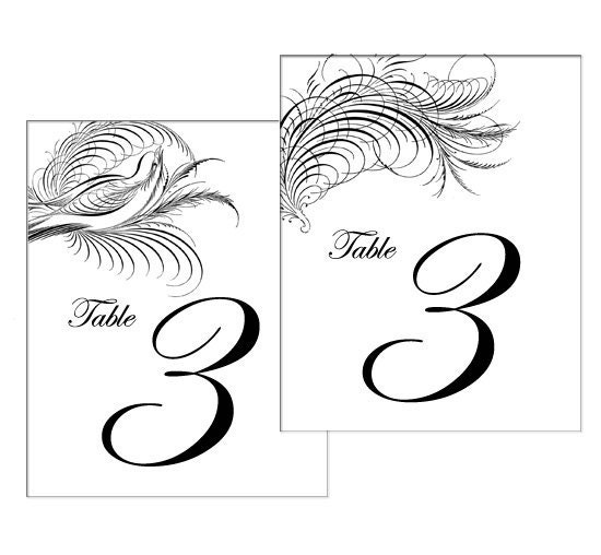 Reserved For Samantha Calligraphy Feather Table Numbers