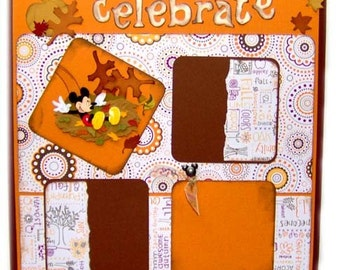 Scrapbook Pages Premade FALL with Mickey and Goofey TWO Page Layout - kitsnbitscraps