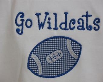 Go Wildcats - Preppy Kentucky Wildcats Football Tee or Bodysuit - Long Sleeves