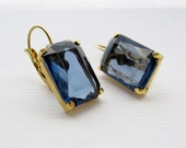 Vintage Smokey Blue Faceted Acrylic Stone Earrings Set in Golden Prongs