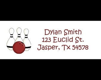 30 Return Address Labels   BOWLING BIRTHDAY PARTY
