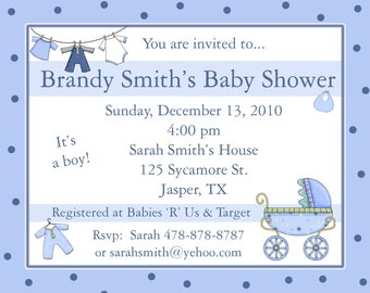 20 Personalized Baby Shower Invitations BABY CLOTHES LINE