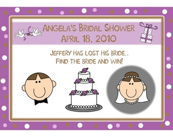 24 Personalized Bridal Shower Scratch Off Cards  -  Happy Couple PURPLE