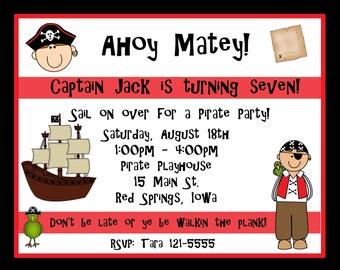 20 Personalized Pirate Birthday Invitations
