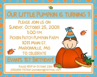20 Birthday Invitations  Our Little Pumpkin  Fall Party   ANY AGE BOY OR GIRL