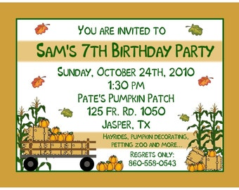 20 Birthday Invitations    Fall Party -   Corn Maze -  Pumpkin Patch Farm - Autumn Party - Any Age Invitation