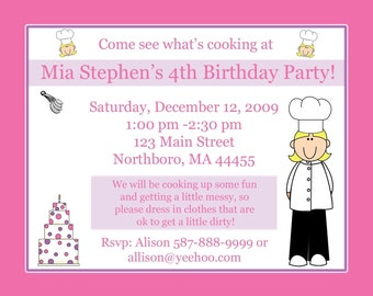 20 Personalized Birthday Invitations   LITTLE CHEF