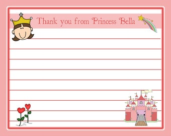 20 Thank You Cards - Personalized Pink Princess Birthday Party