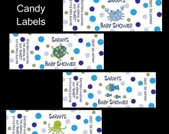 120 Personalized Baby Shower Mini Candy Labels -  UNDER THE SEA