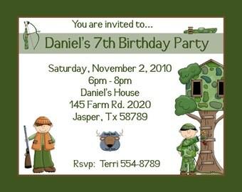 20 Personalized Birthday Invitations  -   Deer Hunting