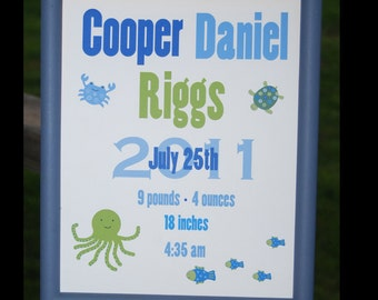 Custom Birth Announcement Print  Under the Sea Theme