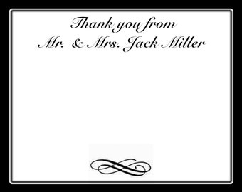 20 Classic Black  Personalized Wedding Thank You Cards