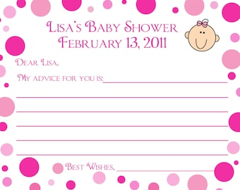 24 Personalized Baby Shower Advice Cards  - Pink Polka Dot