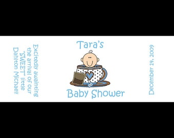 120 Personalized Baby Shower Mini Candy Bar Labels  - Little Tea Cup  - BLUE