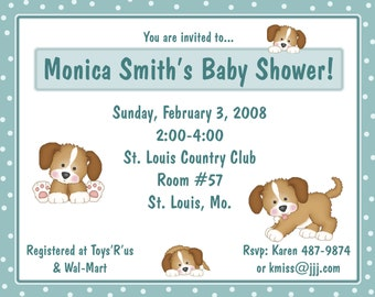 20 Personalized Baby Shower Invitations -  Puppy Dog Tails
