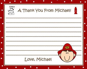 20 Fireman Birthday Party Thank You Cards