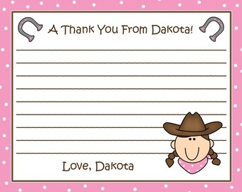 20 Personalized PINK Cowgirl Thank you Cards