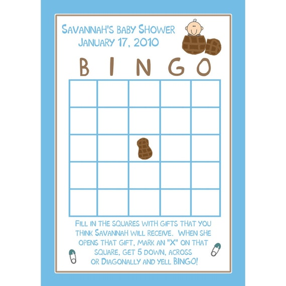 24 personalized baby shower bingo cards little peanut