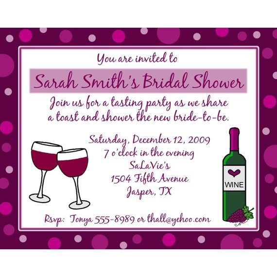 20 personalized bridal shower invitations wine theme for Custom wedding shower invitations