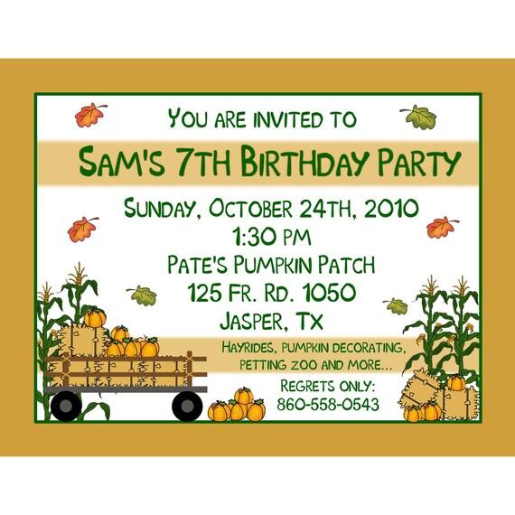 20 Birthday Invitations    FALL PARTY   CORN MAZE PUMPKIN PATCH FARM