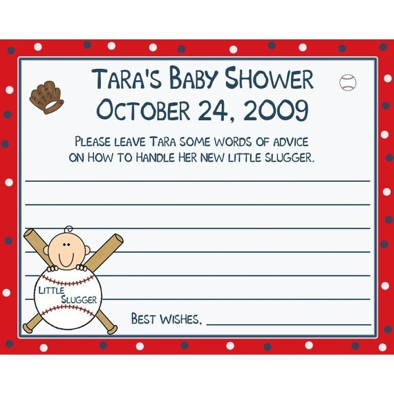 24 Personalized Baby Shower Advice Cards   Baseball Little Slugger Theme
