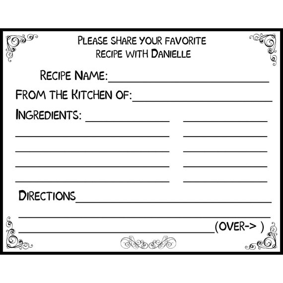 50 Bridal Shower Recipe Cards PERSONALIZED