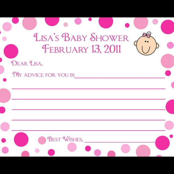 24 personalized baby shower advice cards pink polka dot