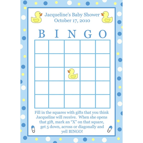 24 baby shower bingo cards blue rubber ducky