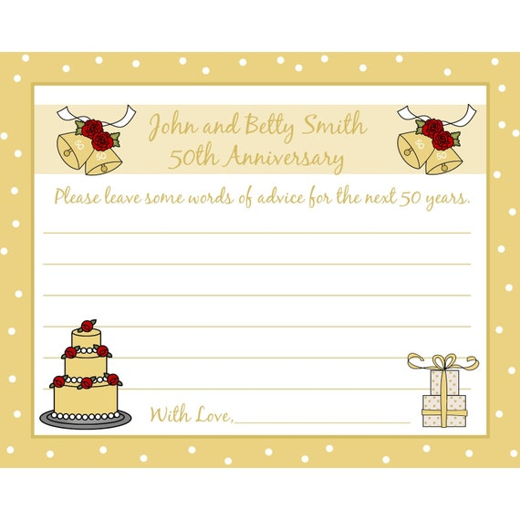 24 Personalized 50th Anniversary Advice Cards