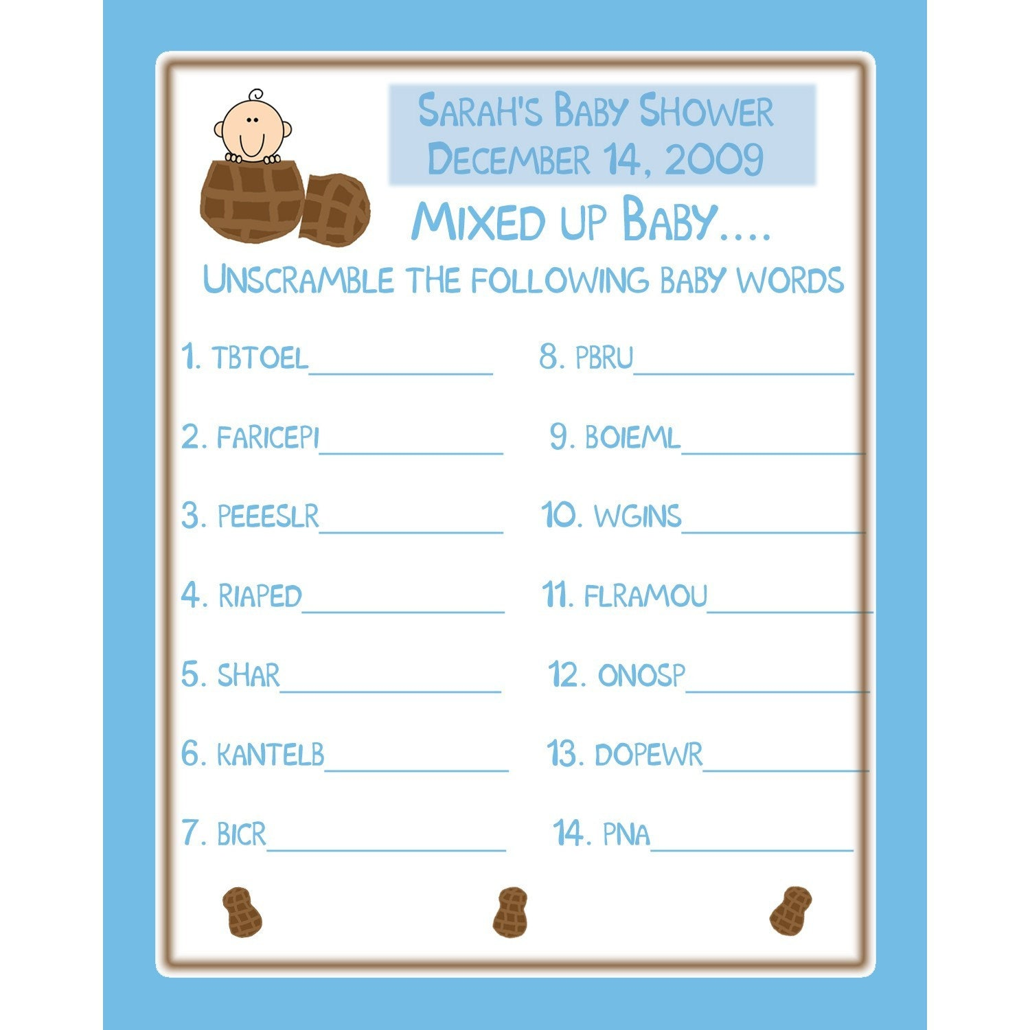 24 Personalized Baby Shower Word Scramble Game Cards LITTLE