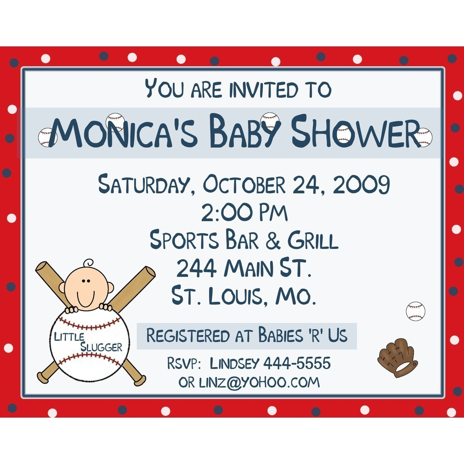 20 personalized baby shower invitations baseball little