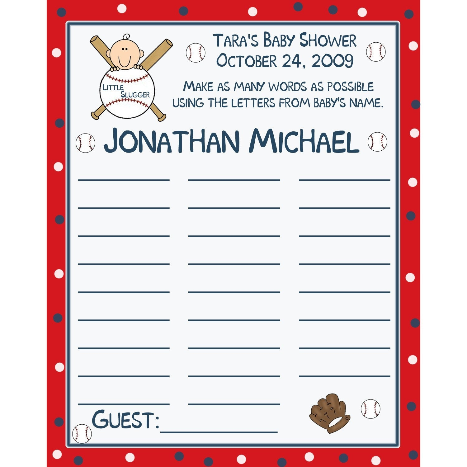 24 personalized baby shower name game cards baseball little