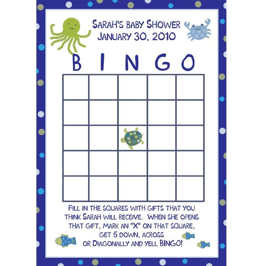 24 baby shower bingo cards under the sea