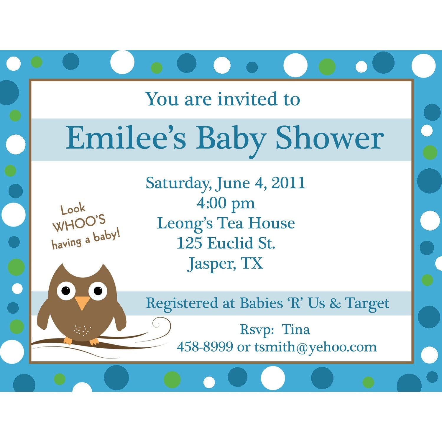 20 personalized baby shower invitations blue baby owl