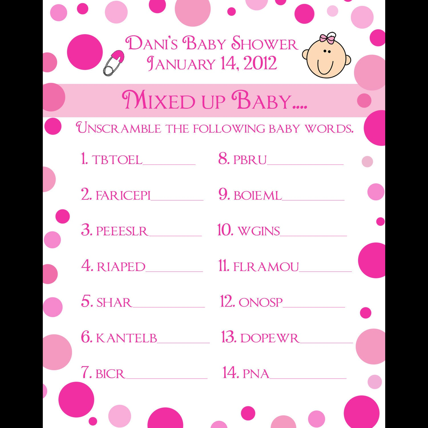 24 Personalized Word Scramble Baby Shower Game Cards Pink